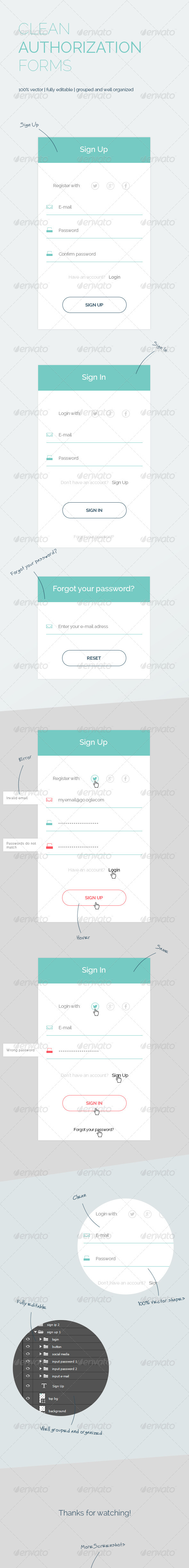 GraphicRiver Clean Authorization Forms 8085080