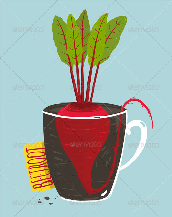 GraphicRiver Growing Beetroot with Green Leafy Top in Mug 8085103