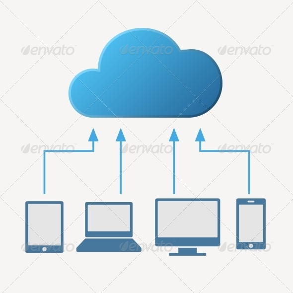 GraphicRiver Cloud Computing Concept with Various Devices 8085142