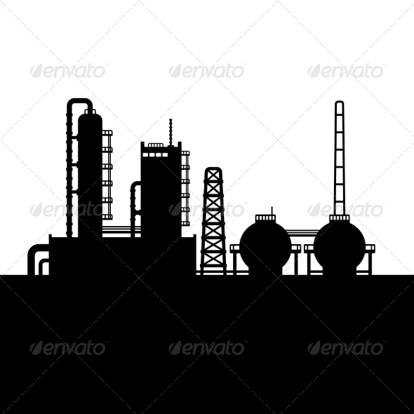 GraphicRiver Oil Refinery Plant and Chemical Factory Silhouette 8085149