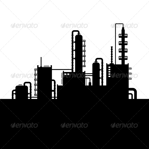 GraphicRiver Oil Refinery Plant and Chemical Factory Silhouette 8085151