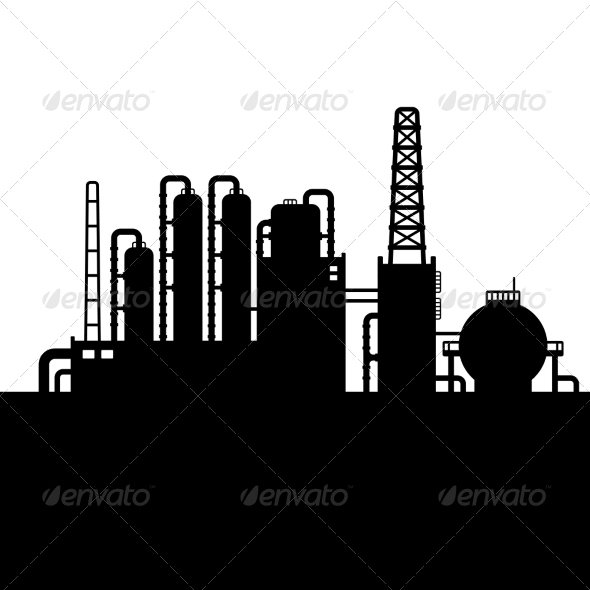 GraphicRiver Oil Refinery Plant and Chemical Factory Silhouette 8085152