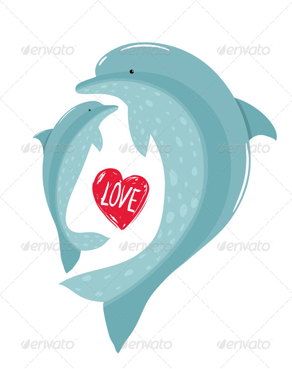 GraphicRiver Two Dolphins Mother and Child Love 8085158