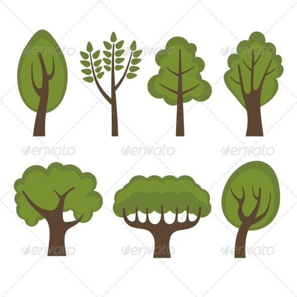 GraphicRiver Set of Different Green Trees Cartoon Style 8085187