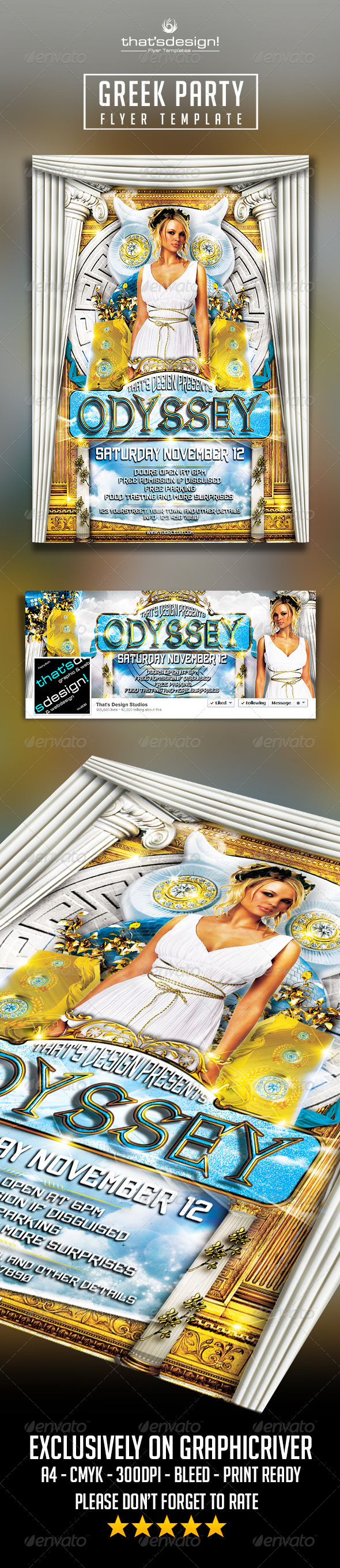 Greek Party Flyer Template - Clubs & Parties Events