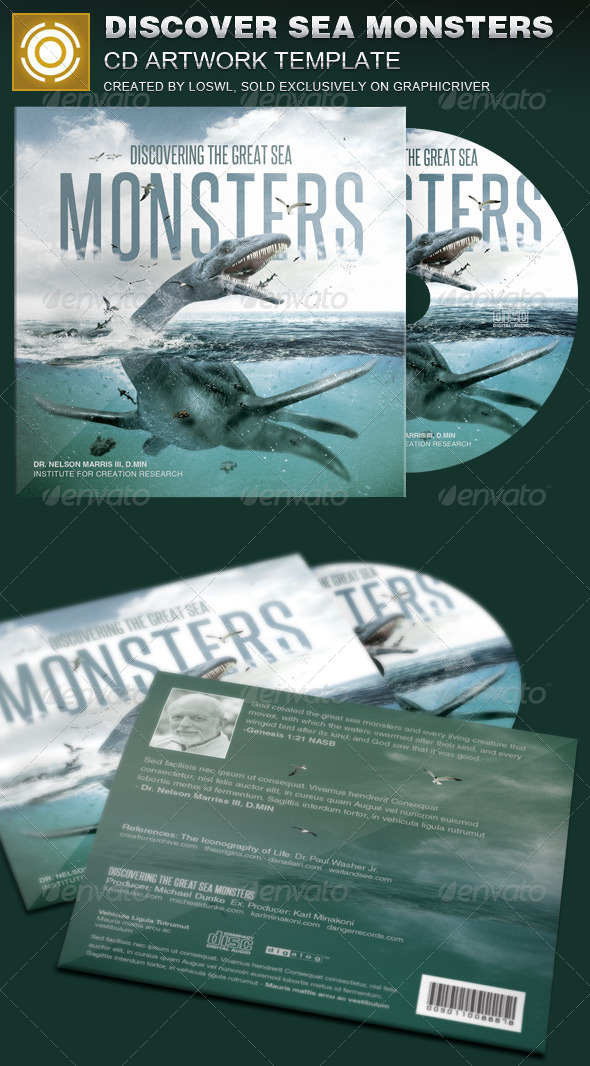 GraphicRiver Discover Great Sea Monsters CD Artwork Template 8085406