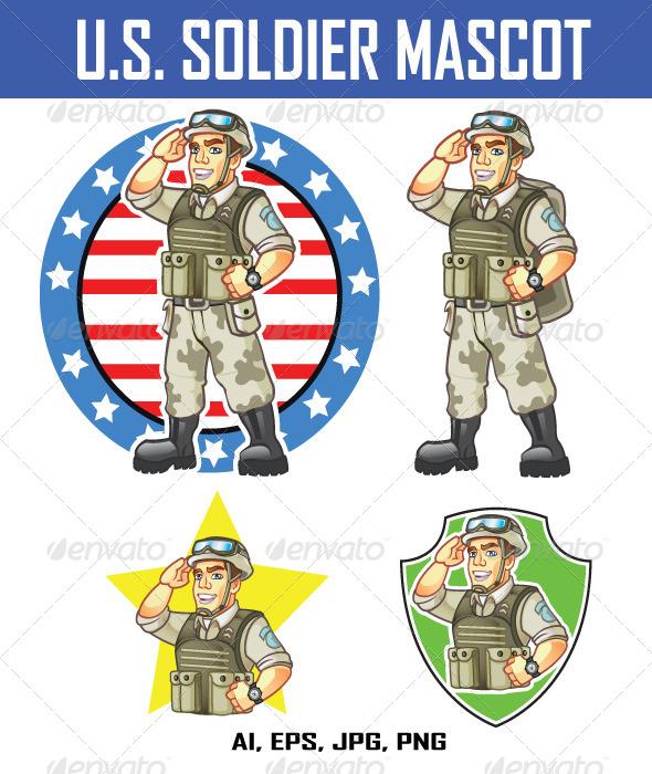 GraphicRiver US Soldier Mascot 8080031