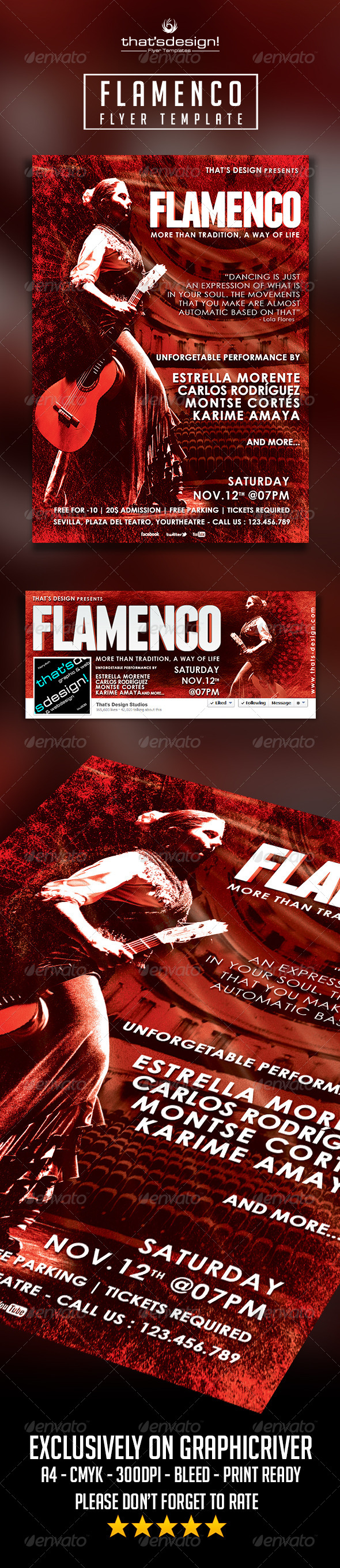 Flamenco Flyer Template - Concerts Events