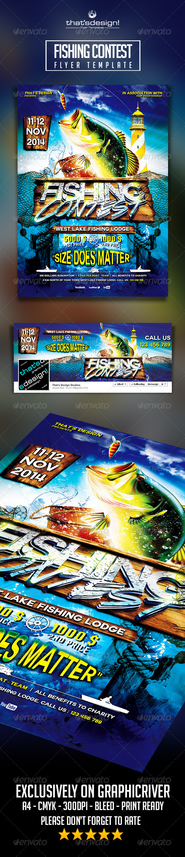 Fishing Contest Flyer Template - Events Flyers