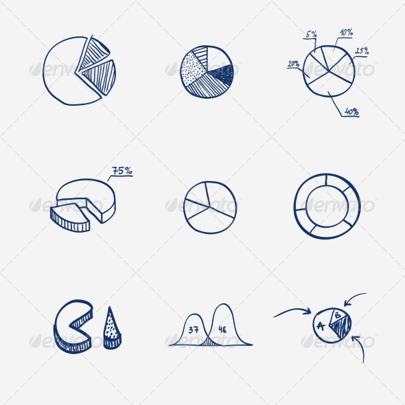 GraphicRiver Set of Circle Chart Diagram Graph Pie Hand Drawn 8086101