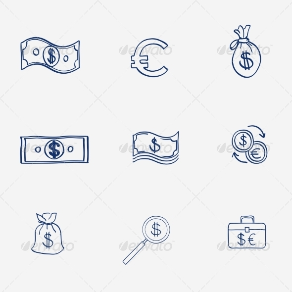 GraphicRiver Money Icons Set Doodle Sketch Hand Drawn 8086110