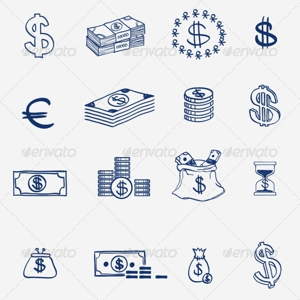GraphicRiver Money Icons Set Doodle Sketch Hand Drawn 8086115