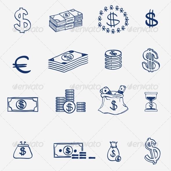 GraphicRiver Money Icons Set Doodle Sketch Hand Drawn 8086115