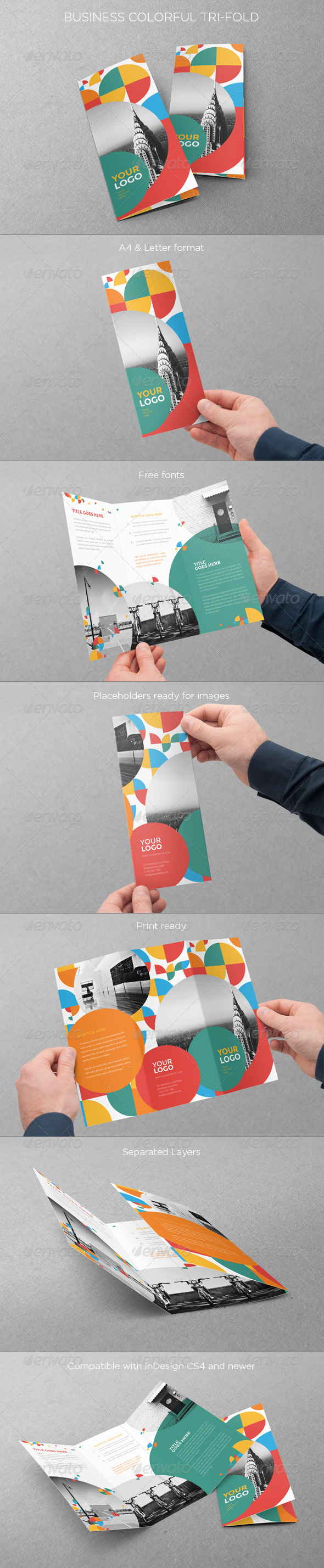 GraphicRiver Colorful Circle Pattern Trifold 8086157