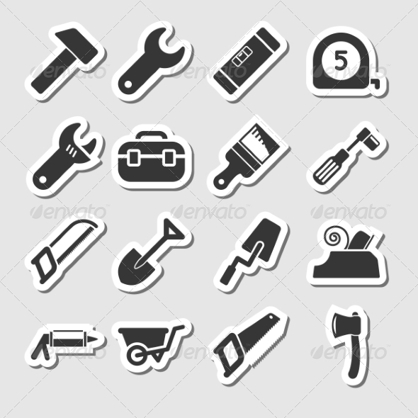 GraphicRiver Tools Icons as Labels 8086165