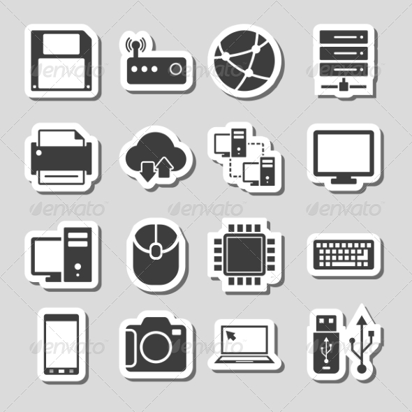 GraphicRiver Technology Icons Set as Labels 8086232