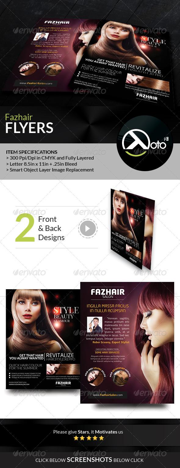 Fazhair Fashion Hair Care Salon Flyers - Flyers Print Templates