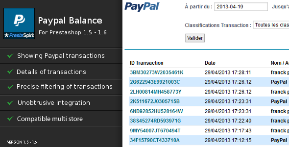 Paypal Balance for Prestashop - CodeCanyon Item for Sale