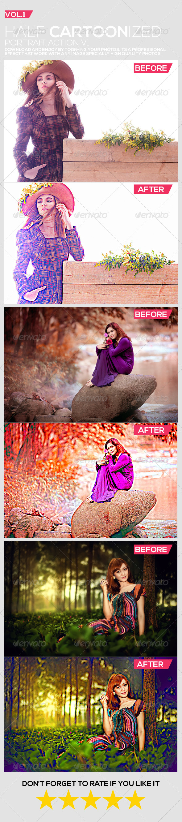 GraphicRiver Half Cartoonized Portrait Action V1 8077433