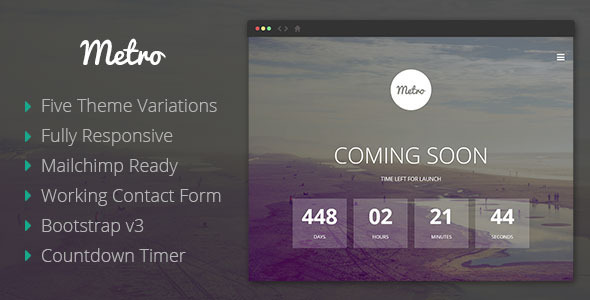 ThemeForest Metro Coming Soon Responsive Template 8035336
