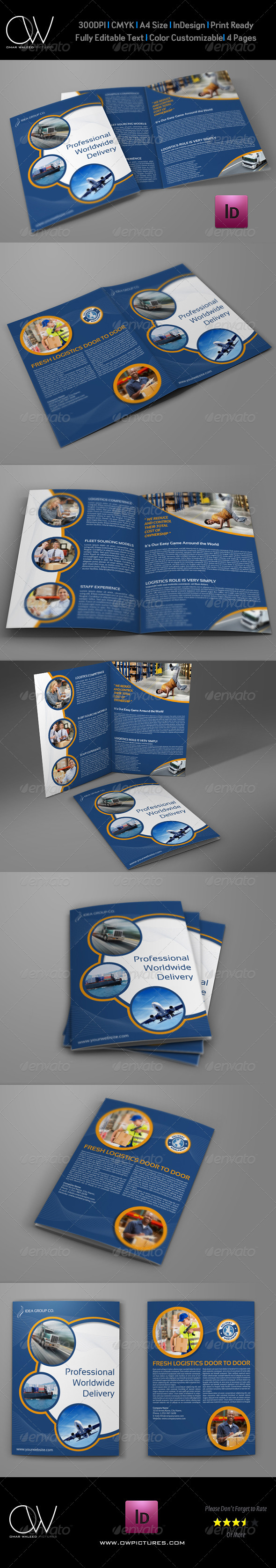 GraphicRiver Logistics Services Bi-Fold Brochure Vol.4 8086692