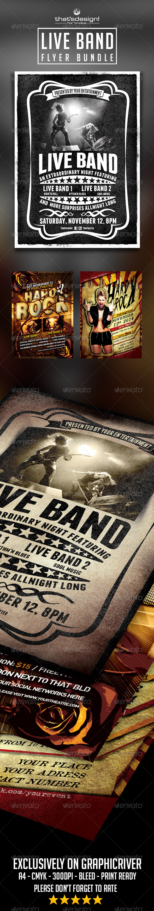 Live Band Flyer Bundle - Concerts Events