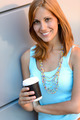 Smiling student girl with coffee cup summer - PhotoDune Item for Sale
