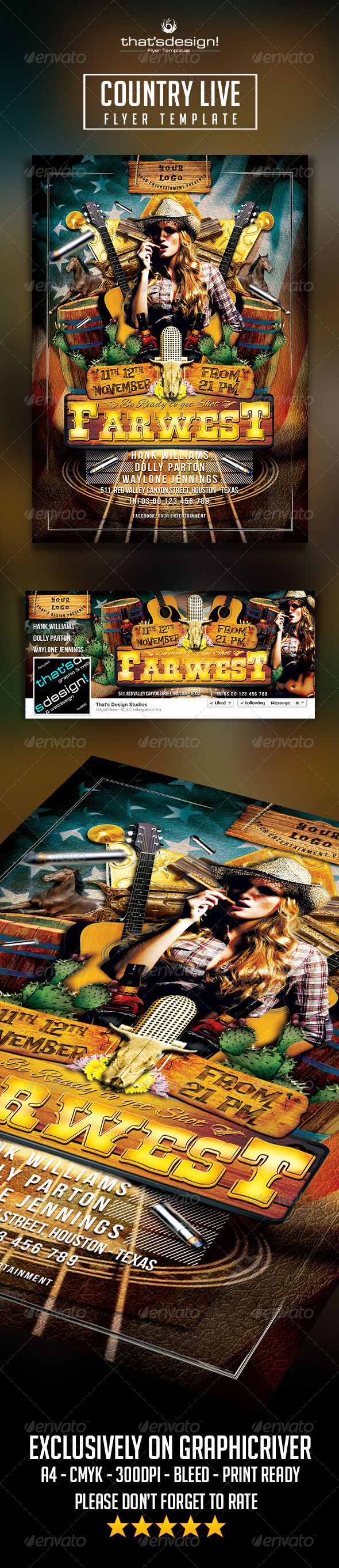 Country Live Flyer Template - Print Templates