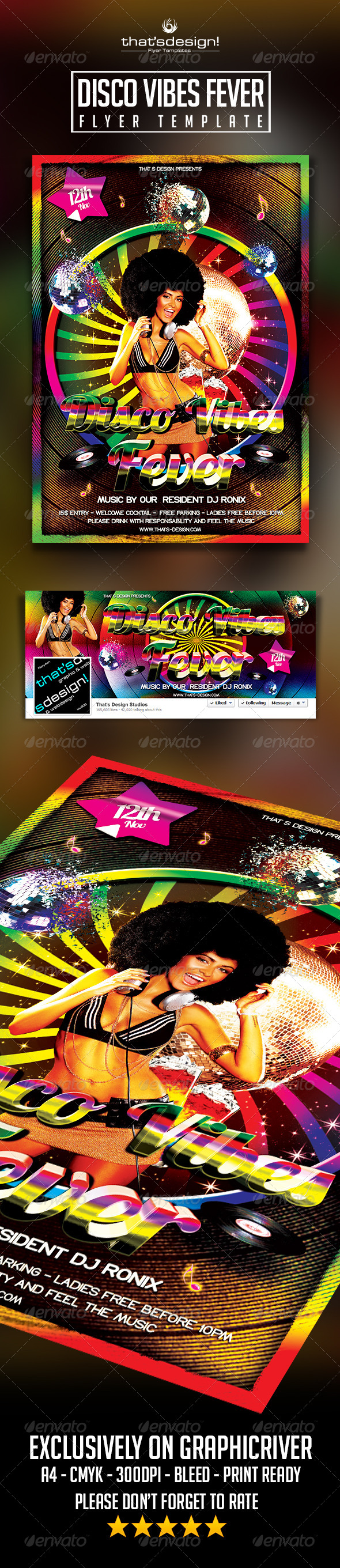 Disco Vibes Fever Flyer Template - Clubs & Parties Events