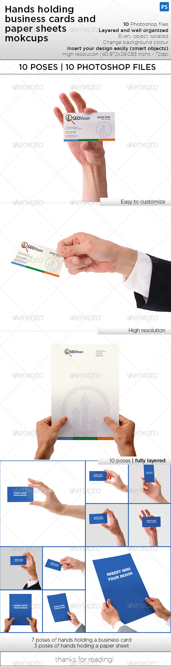 GraphicRiver Hand Holding Business Card and Paper Sheet Mockups 8067919