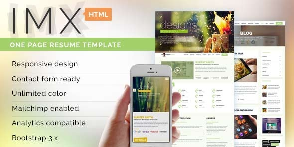 ThemeForest IMX Responsive HTML5 Resume Template 8012659