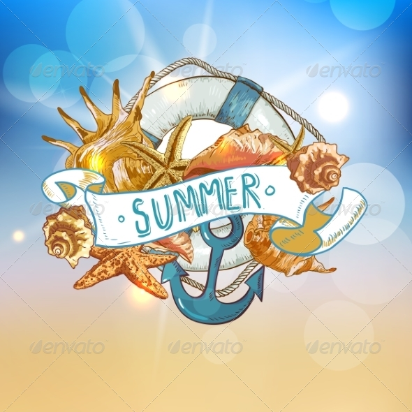 GraphicRiver Summer Card with Sea Shells Anchor Lifeline 8088915
