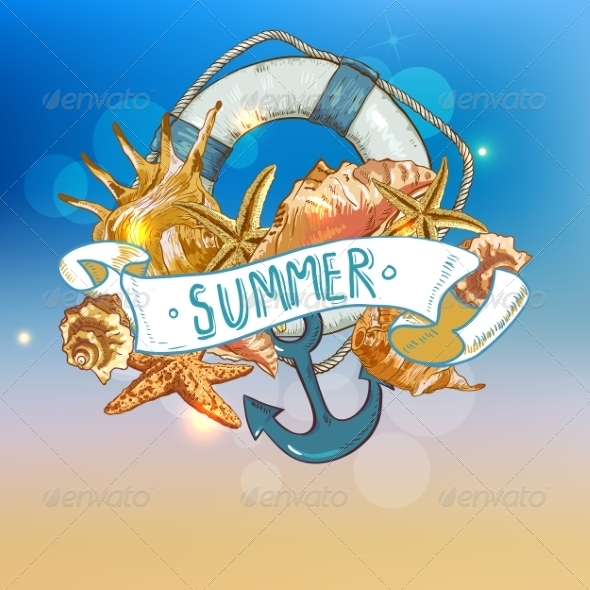 GraphicRiver Summer Card with Sea Shells Anchor Lifeline 8088916