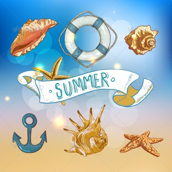 GraphicRiver Summer Card with Sea Shells Anchor Lifeline 8088919