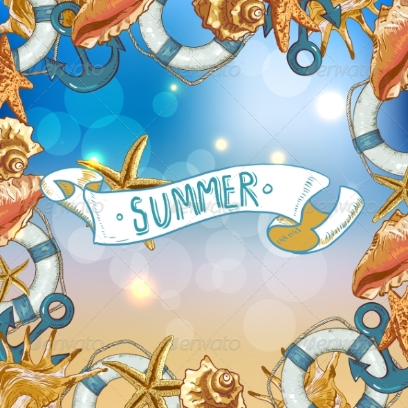 GraphicRiver Summer Card with Sea Shells Anchor Lifeline 8088921