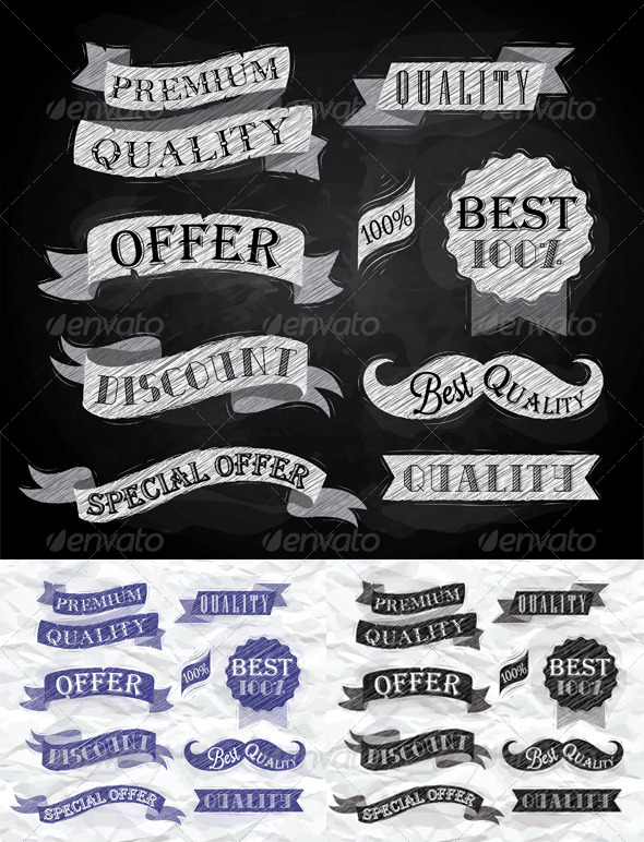 GraphicRiver Set of Retro Ribbons and Labels 8084018