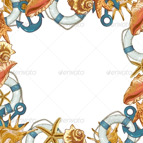 GraphicRiver Summer Card with Sea Shells Anchor Lifeline 8088922