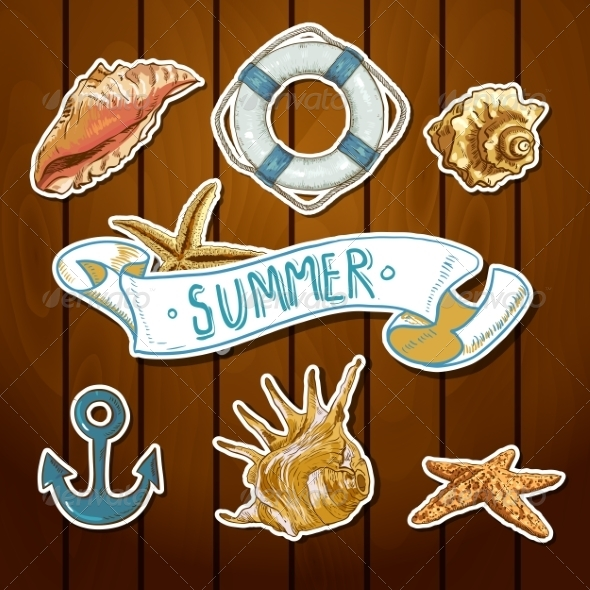 GraphicRiver Summer Card with Sea Shells Anchor Lifeline 8088965