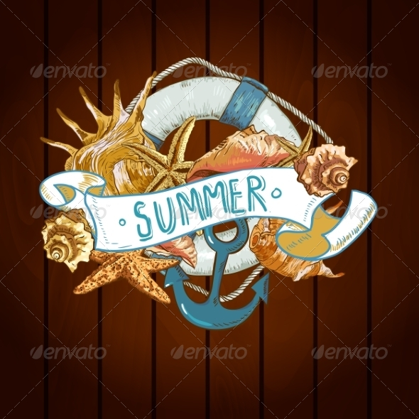 GraphicRiver Summer Card with Sea Shells Anchor Lifeline 8088967