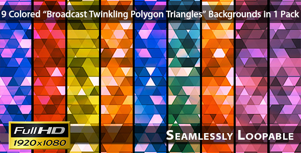 Broadcast Twinkling Polygon Triangles Pack 01
