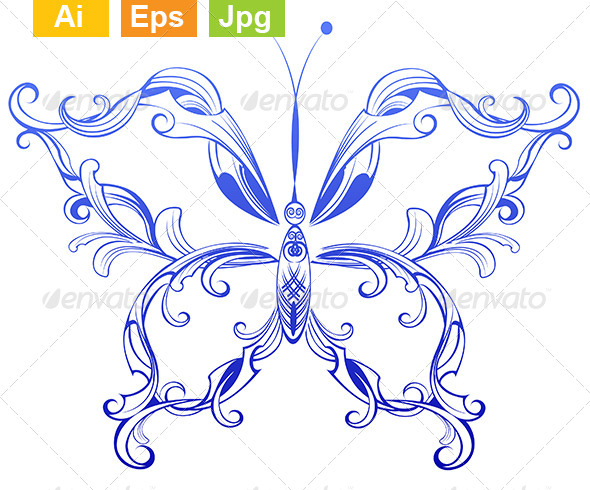 GraphicRiver Blue Patterned Butterfly 8089336