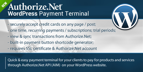 Authorize.Net Payment Terminal Wordpress is a wordpress plugin designed to make it easy for you to accept payments and subscriptions on your wordpress site. You