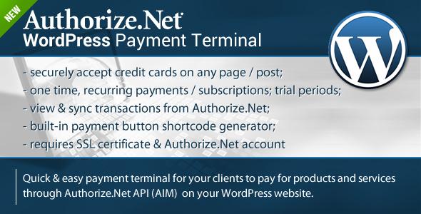 CodeCanyon Authorize.Net Payment Terminal Wordpress 8089552
