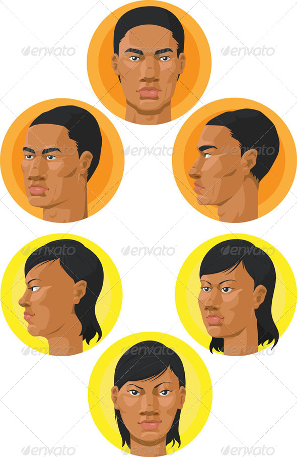 GraphicRiver African American Man & Woman Head 8089612