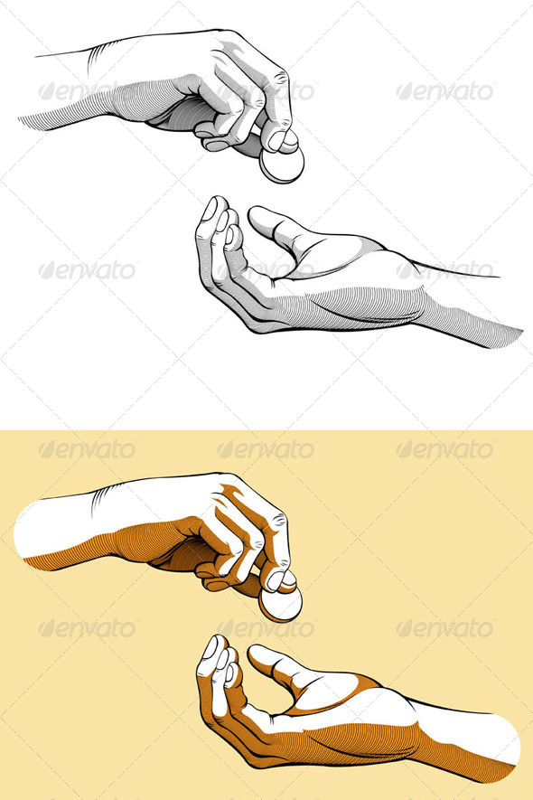 GraphicRiver Hands Giving & Receiving Coin of Money 8089620