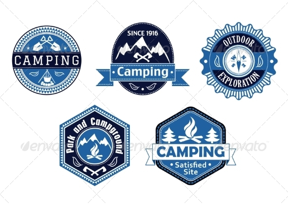 GraphicRiver Camping Emblems and Labels for Travel Design 8089628