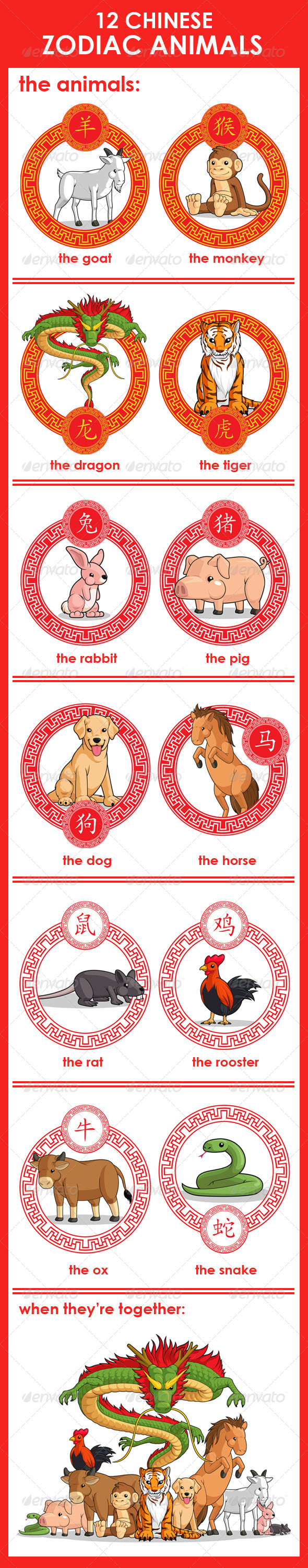 12 Chinese Zodiac Animals