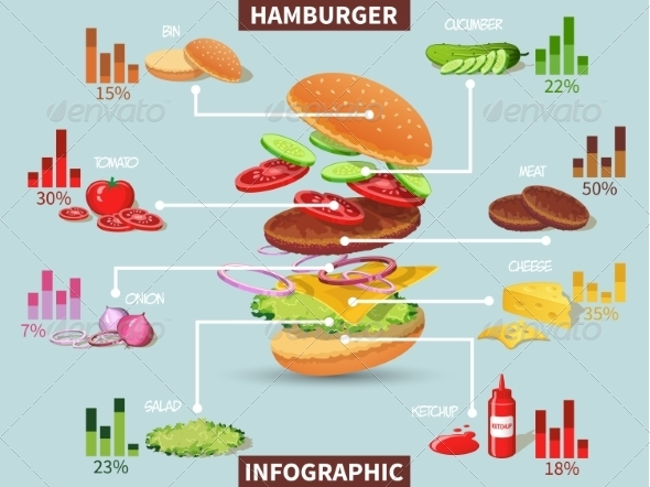 GraphicRiver Hamburger ingredients infographic 8090448