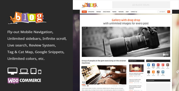 ThemeForest Bblog = Blog Magazine WordPress Theme 7987981
