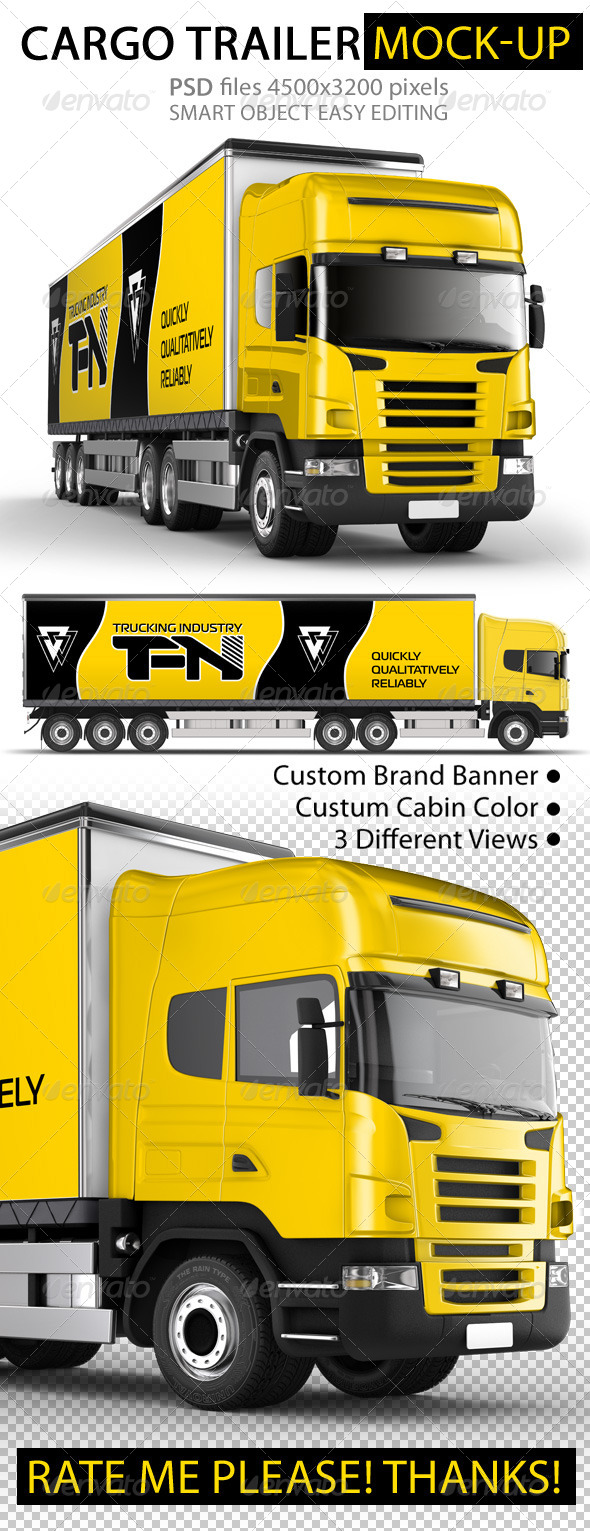GraphicRiver Branded Trailer Truck Mock-Up 8090670